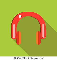Red headphones icon in flat style