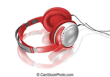 red headphones - Music object. Headphones isolated on white