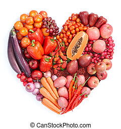 red healthy food - heart shape form by various vegetables ...