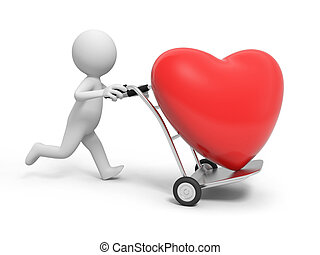 Red heart - A 3d person pushing a cart/ a red heart in the...