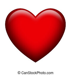 A single heart shape with glossy effect isolated on white background