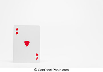 Red heart Ace card on white background and selective focus