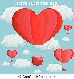 Red heart air balloon Vector. Valentine day card flat style illustrations