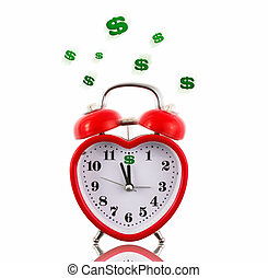 Red heart alarm clock with dollar signs ringing isolated