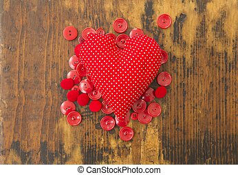 Red heart and buttons
