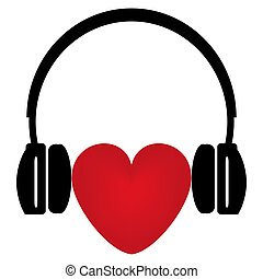 red heart and headphones