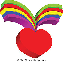 Red heart and rainbow