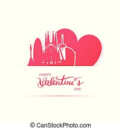 Red heart and silhouette of Barcelona city paper stickers.