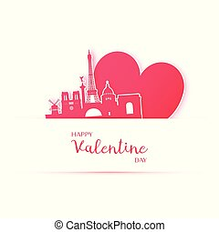 Red heart and silhouette of Paris city paper stickers.