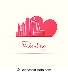 Red heart and silhouette of Philadelphia city paper stickers.