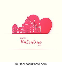 Red heart and silhouette of Rome city paper stickers.