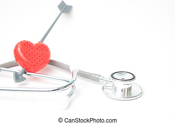 Red heart and stethoscope on white background, Health and Insurance