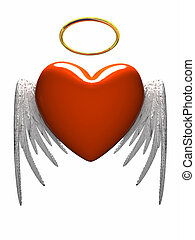 Red heart-angel with wings isolated on white background