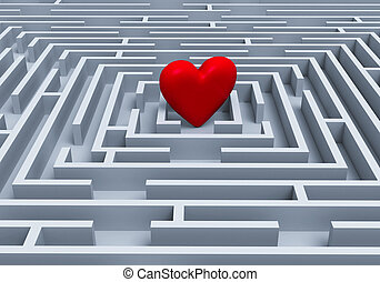 Red Heart At The Center Of A Maze