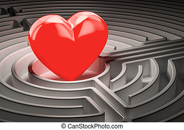 Red heart at the center of a maze, finding Love concept. 3D rendering