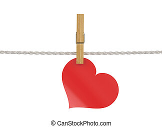 Red heart attached to a clothesline with pin isolated on white b