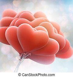 Red heart balloon on blue bokeh. EPS 10