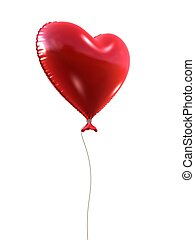 red heart balloon - 3d rendered illustration of an isolated...