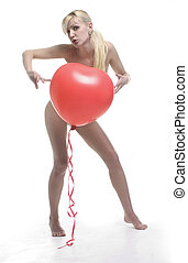 red heart balloon - blond with red heart balloon