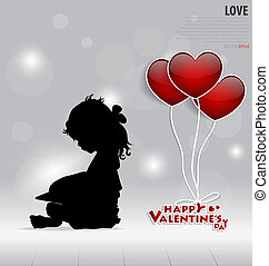 Red heart balloons for Valentines day. Vector illustration.