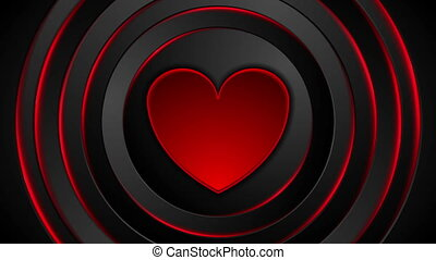 Red heart beat and glowing circles abstract motion background. Video animation HD