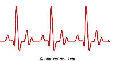 Red heart beat pulse graphic line on white. Healthcare medical sign with heart cardiogram, cardiology concept pulse rate diagram illustration.