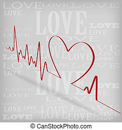 Red Heart Beats Cardiogram on White background
