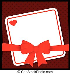 Red heart bow card with ribbons