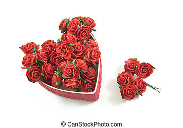Red heart box with rose