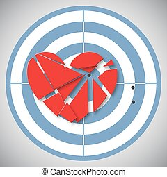 Red heart broken into pieces on the blue target
