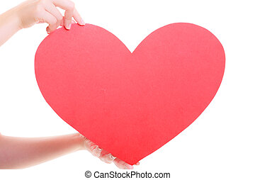 Red heart card. Love symbol. Woman hold Valentine day symbol.