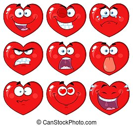 Red Heart Cartoon Emoji Face Character 1. Collection