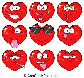 Red Heart Cartoon Emoji Face Character 2. Collection