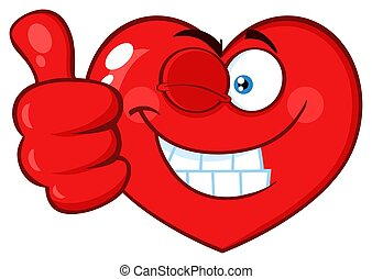 Red Heart Cartoon Emoji Face Character Winking and Giving A Thumb Up