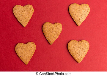 red heart cookie background