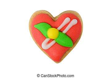 Red heart cookie isolated on white
