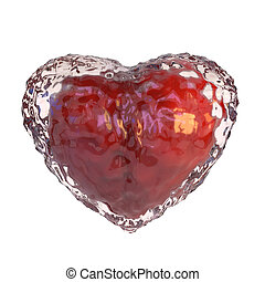 Red heart covered with ice, isolated on white background. 3d...