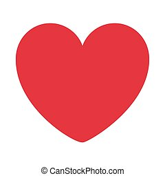 red heart design icon flat