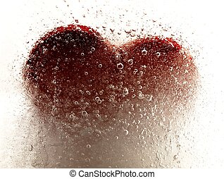 Red heart embedded in ice