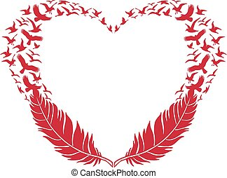 red heart, feather and flying birds