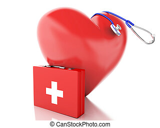 red heart, first aid kit and stethoscope. 3d illustration -...
