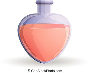 Red heart flask icon, cartoon style