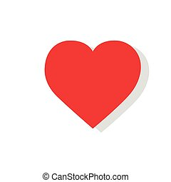 red heart flat icon design vector