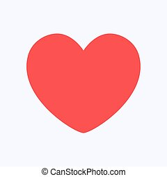 Red heart flat style isolated on white background