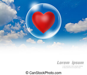 Red heart floating in a bubble in the sky