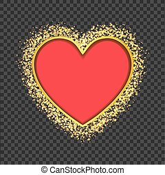 red heart frame with glittering golden transparent particles. vector