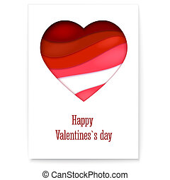 Red heart from paper with cut out layers. Simple greeting card for Valentines days. Modern abstract background with design of text. Art of carving from paper