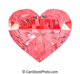 Red heart gemstone. Isolated on white background. 3d render