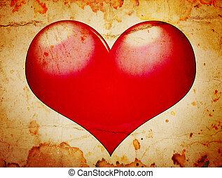 red heart grunge background
