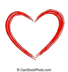 Red Heart . Grunge stamps. Love shape for your design.